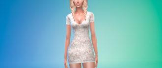 Элегантное короткое кружевное платье для Симс 4 – фото 1