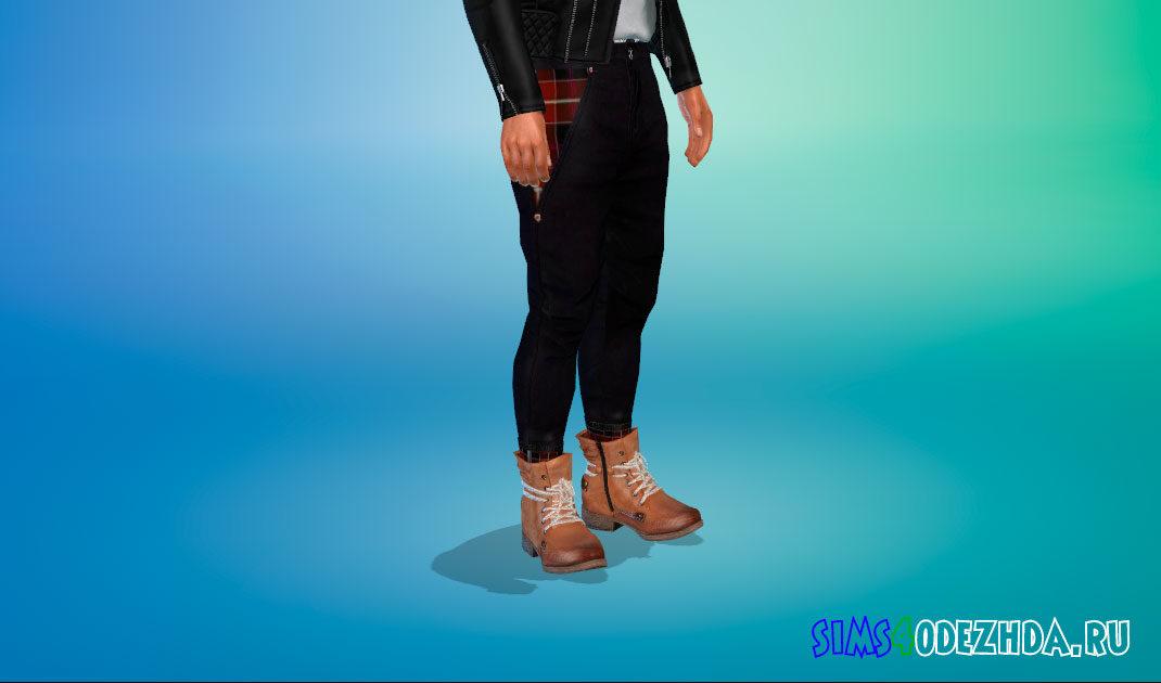 Классные мужские ботинки Rieker из кожи для Симс 4 – фото 1