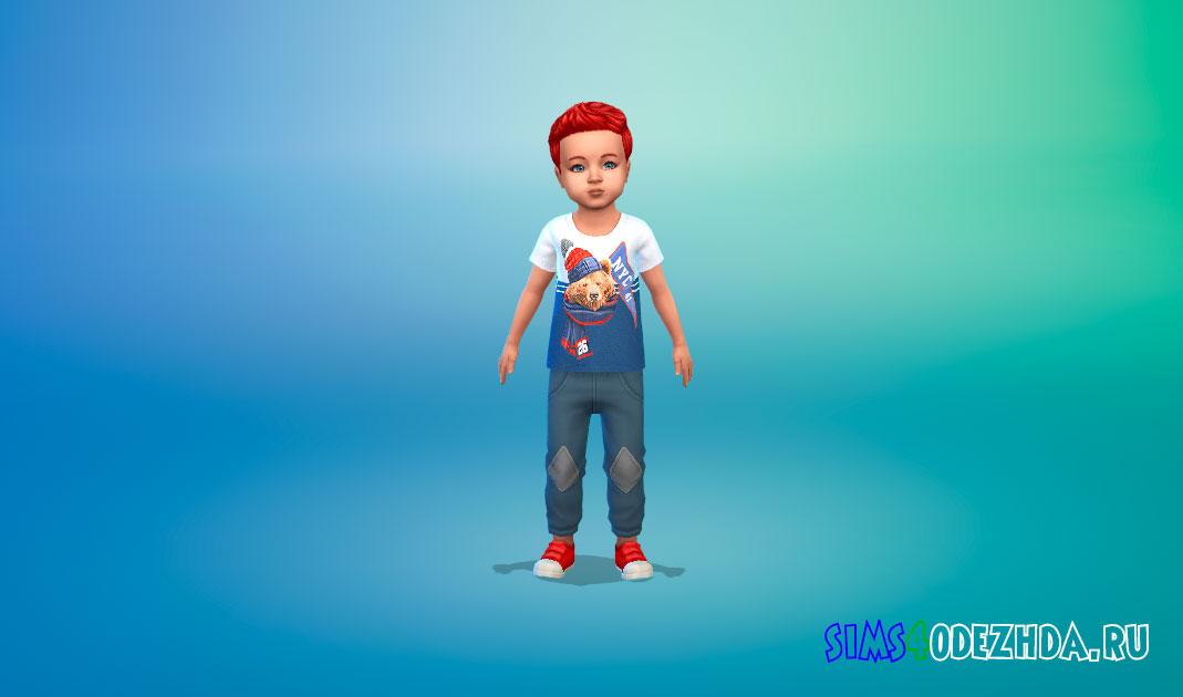 Коллекция футболок для малышей мальчиков для Симс 4 – фото 1