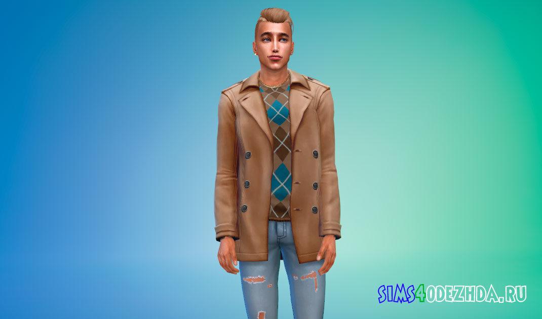 Кожаное пальто и джинсы для Симс 4 – фото 1