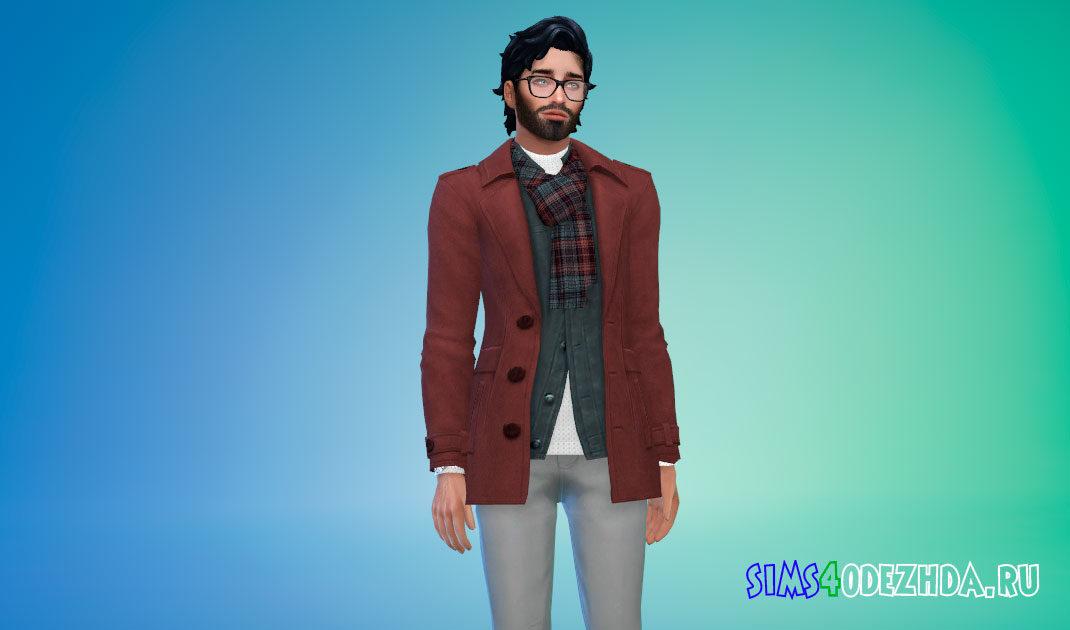 Мужское короткое пальто с шарфом для Симс 4 – фото 1
