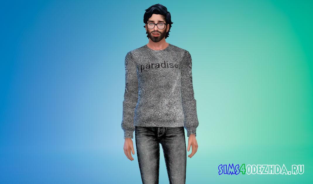 Мужской свитер с графическими надписями для Симс 4 – фото 1
