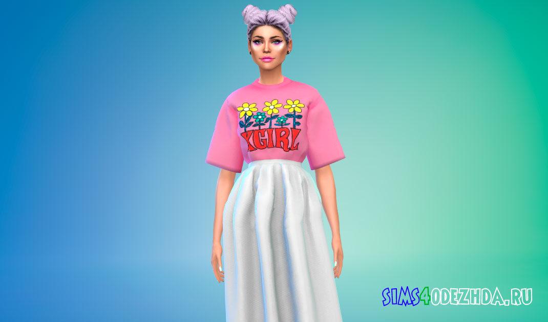 Наряд из футболки и юбки для Симс 4 – фото 1