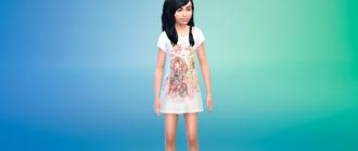 Платье-футболка для девочек для Симс 4 – фото 1