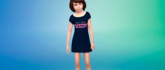 Платье-футболка с принтами для девочек для Симс 4 – фото 1