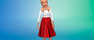 Платье Roxy для девочек для Симс 4 – фото 1