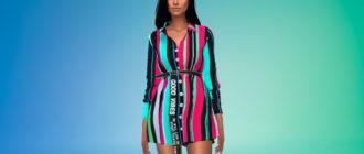 Платье-рубашка с поясом для Симс 4 – фото 1