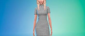 Платье в полоску с короткими рукавами для Симс 4 – фото 1