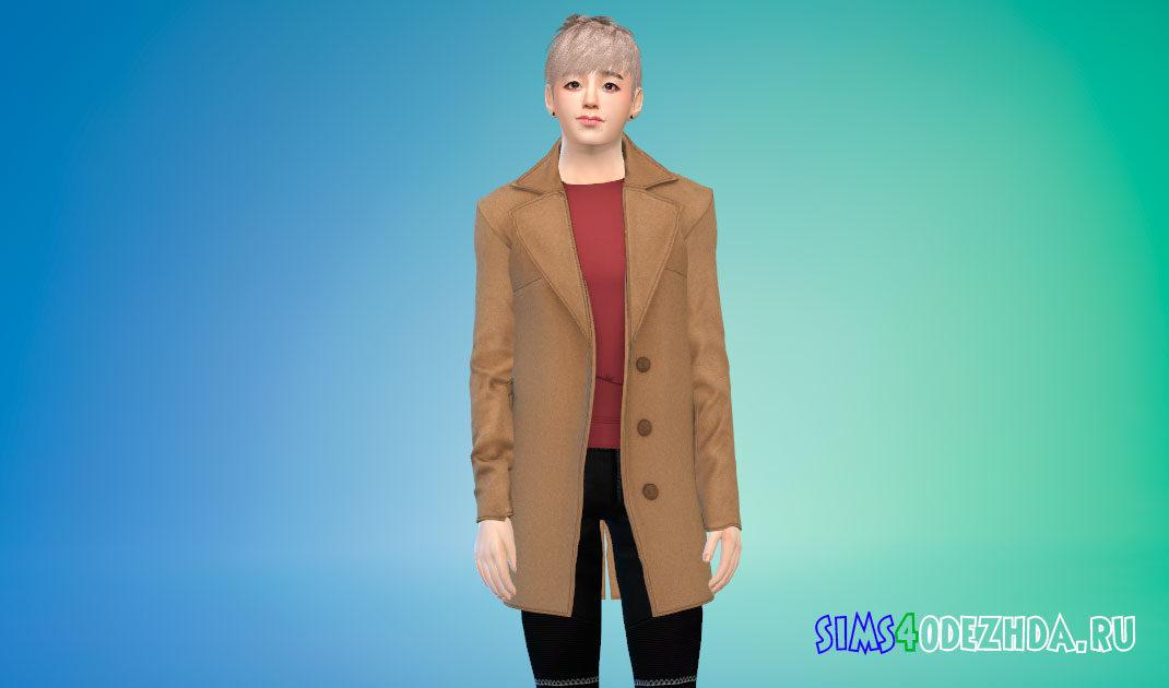 Простое пальто для симов-мужчин для Симс 4 – фото 1