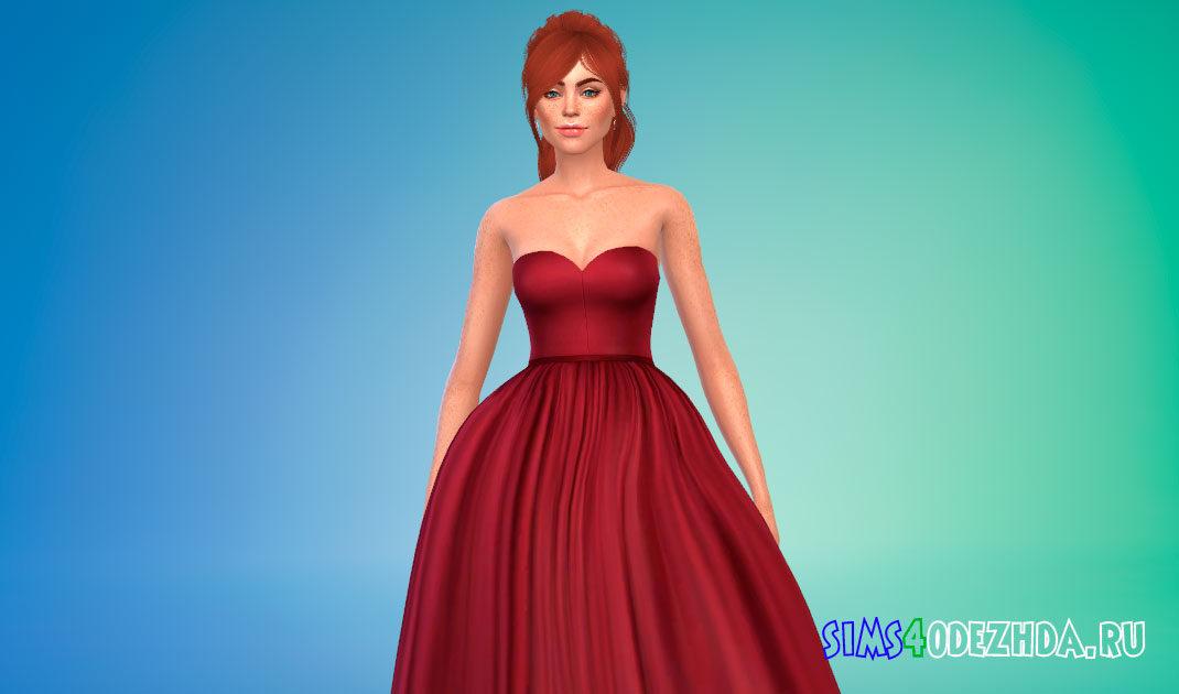 Пышное платье с открытыми плечами для Симс 4 – фото 1