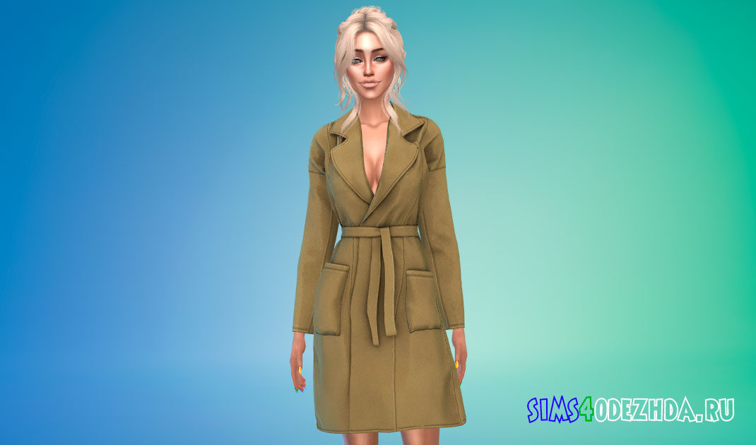 Шерстяное пальто для женщин для Симс 4 – фото 1