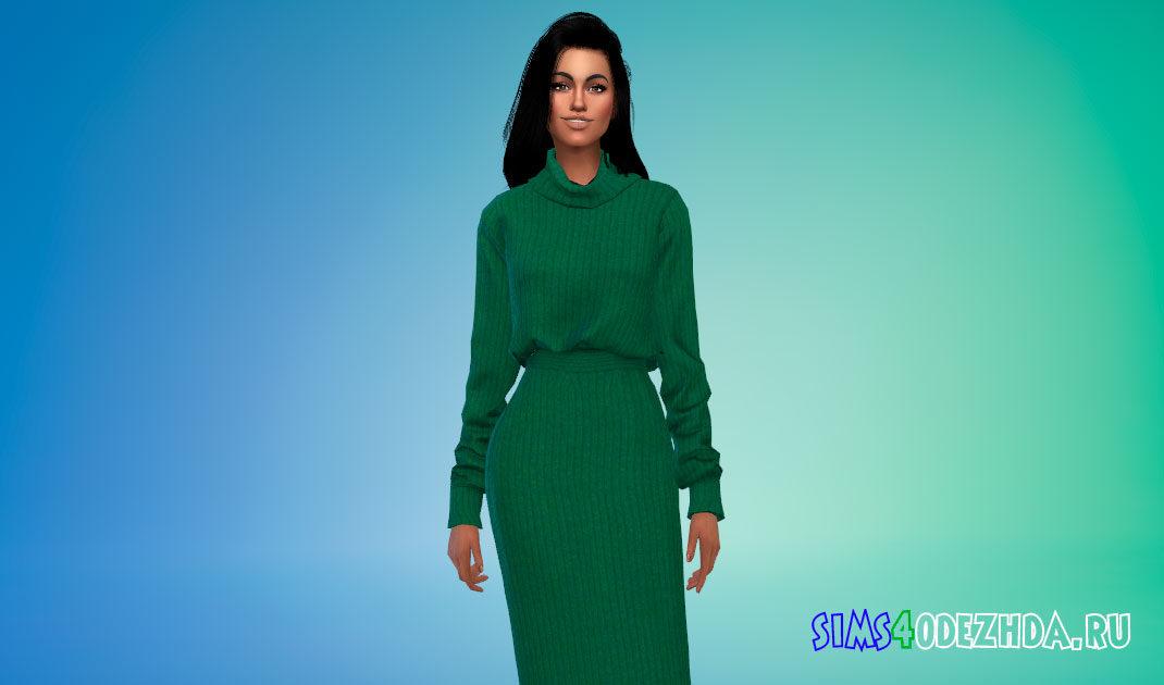 Шерстяное платье-свитер для Симс 4 – фото 1