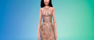 Шикарное платье с вышивкой и поясом для Симс 4 – фото 1