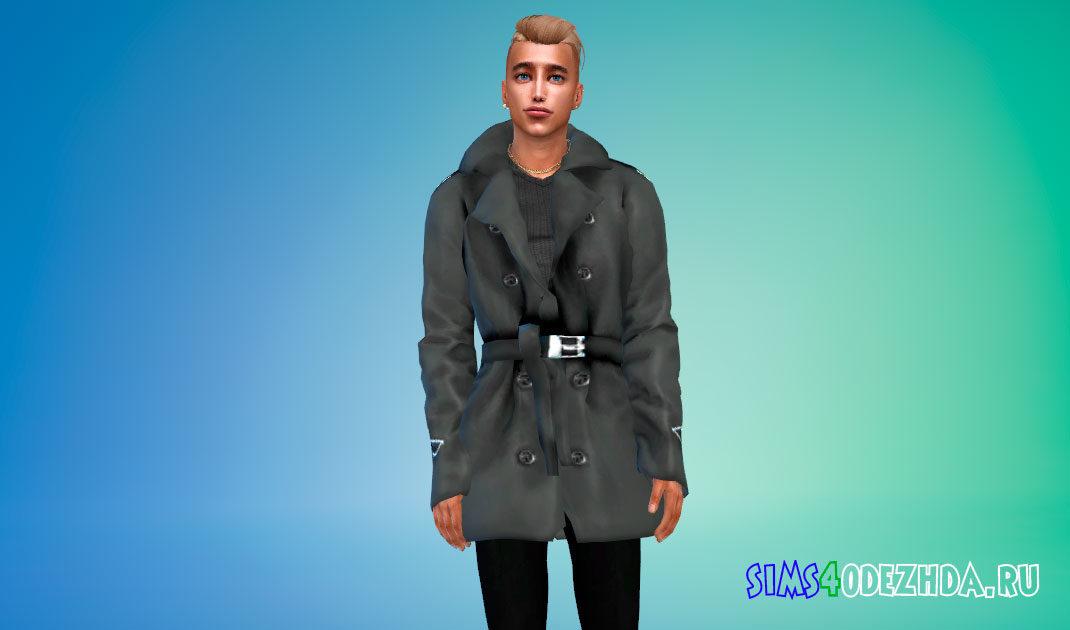 Стильное мужское пальто с поясом для Симс 4 – фото 1