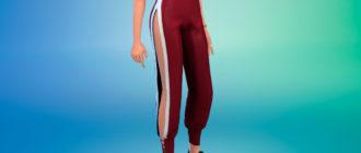 Стильные спортивные штаны с вырезом для Симс 4 – фото 1