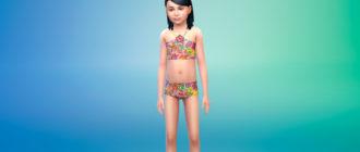Стильный купальник для девочек для Симс 4 – фото 1