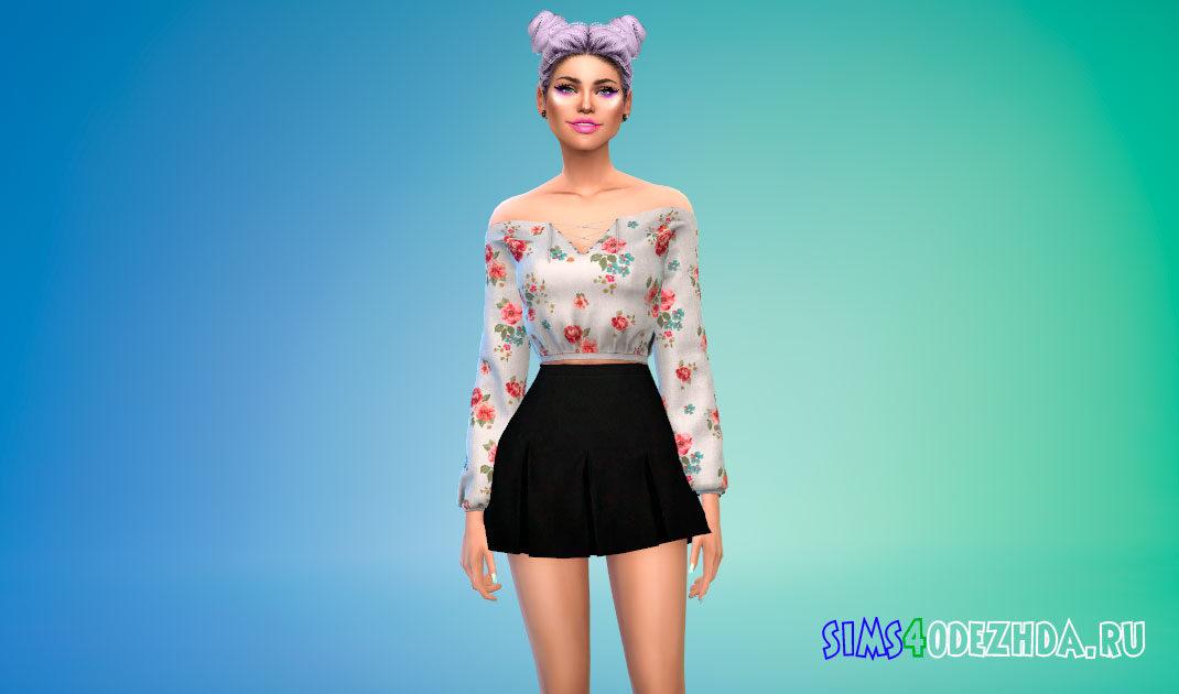 Укороченная блузка для Симс 4 – фото 1