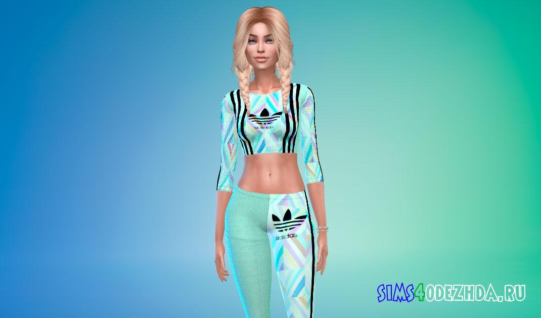 Женский спортивный костюм Adidas для Симс 4 – фото 1