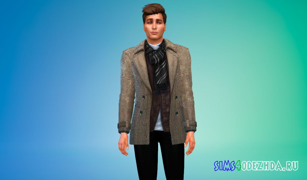 Зимнее пальто для мужчин для Симс 4 – фото 1