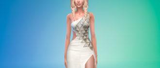 Белое дизайнерское платье для Симс 4 – фото 1