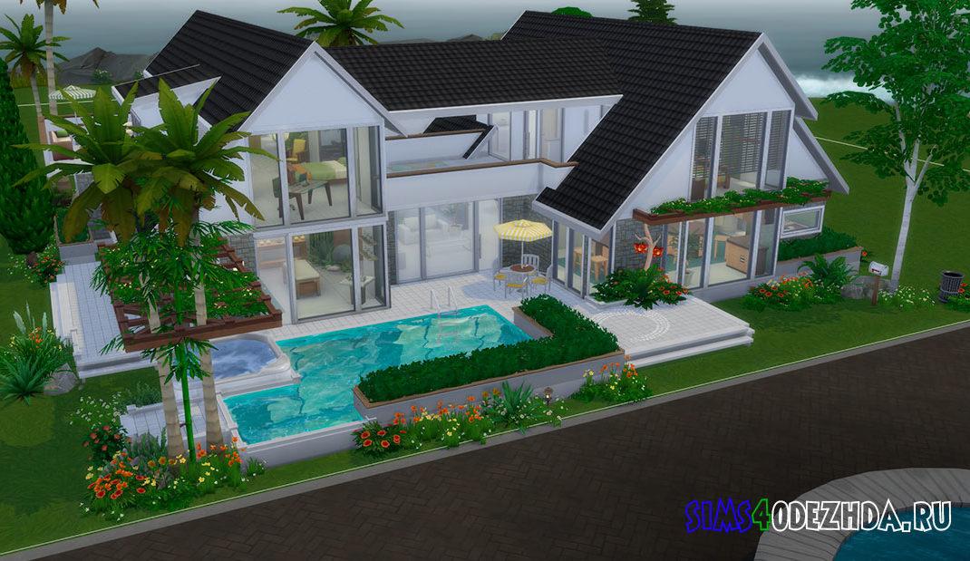 Большой дом с бассейном для Симс 4 – фото