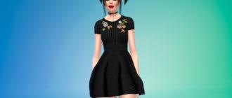 Черное мини-платье с вышивкой для Симс 4 – фото 1