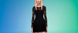 Черное платье с кружевом для Симс 4 – фото 1