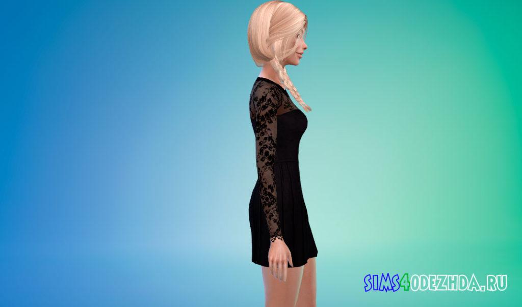 Черное платье с кружевом для Симс 4 – фото 2