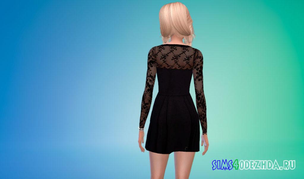 Черное платье с кружевом для Симс 4 – фото 3