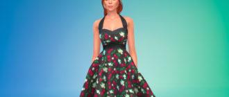 Цветочное платье в стиле 60-х для Симс 4 – фото 1