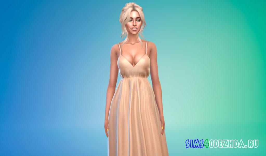 Длинное платье на бретелях для Симс 4 – фото 1