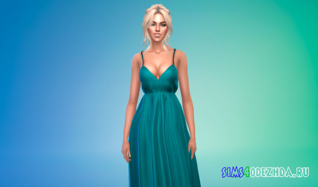 Длинное платье на бретелях для Симс 4 – фото 3