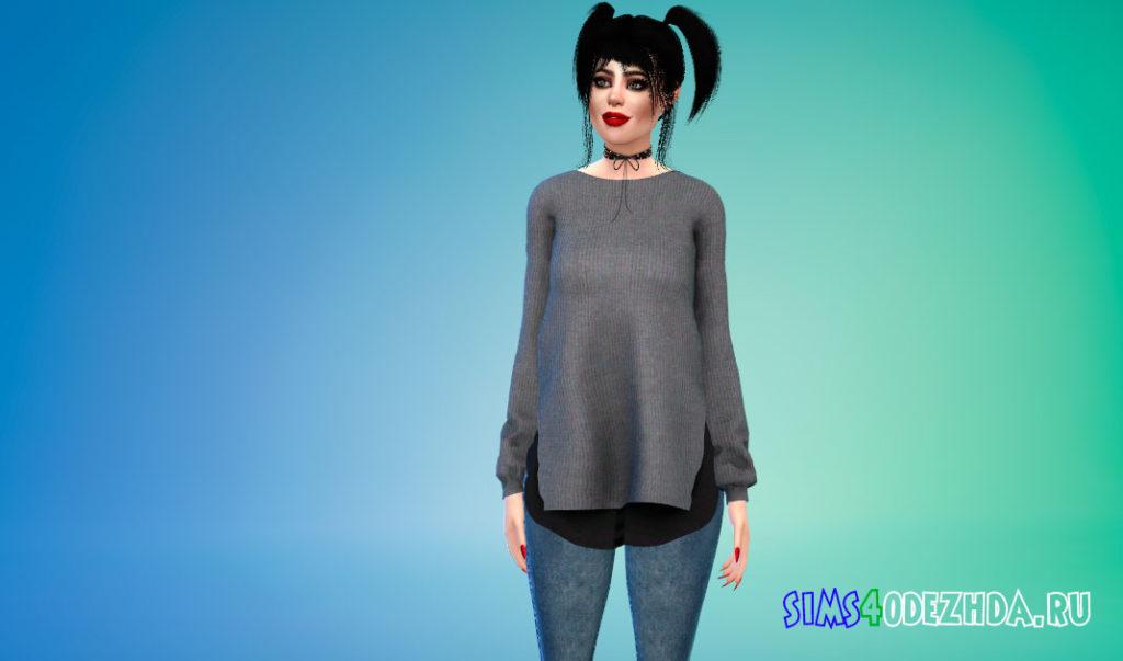 Длинный свитер для женщин для Симс 4 – фото 2