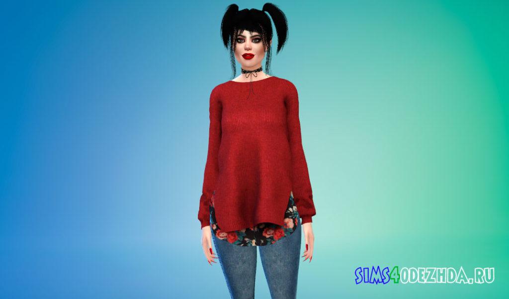 Длинный свитер для женщин для Симс 4 – фото 3