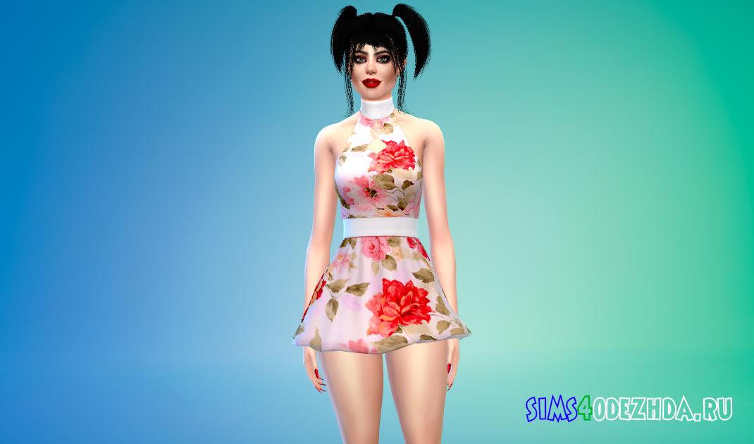 Яркое короткое платье для Симс 4 – фото 1