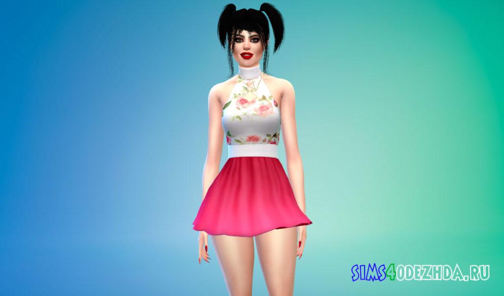 Яркое короткое платье для Симс 4 – фото 2