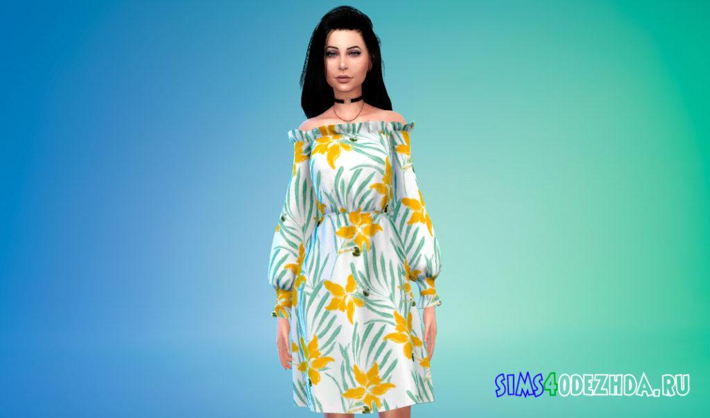 Яркое платье с открытыми плечами для Симс 4 – фото 1