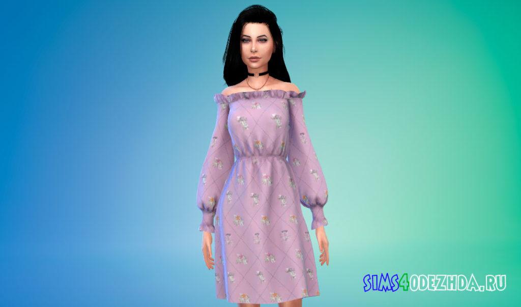 Яркое платье с открытыми плечами для Симс 4 – фото 3