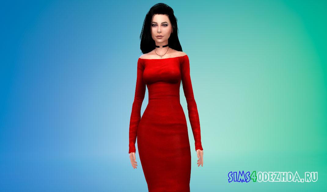 Элегантное платье со спущенными плечами для Симс 4 – фото 1