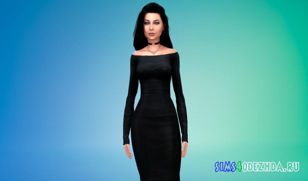 Элегантное платье со спущенными плечами для Симс 4 – фото 2