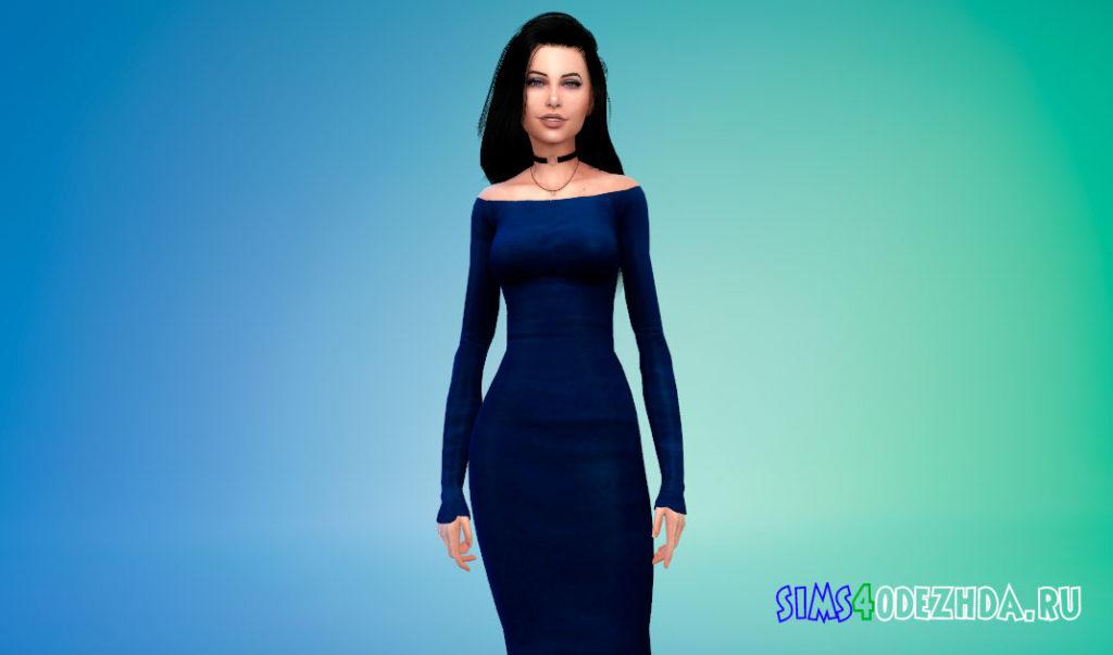 Элегантное платье со спущенными плечами для Симс 4 – фото 3
