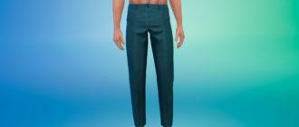 Классические укороченные брюки для мужчин для Симс 4 – фото 1
