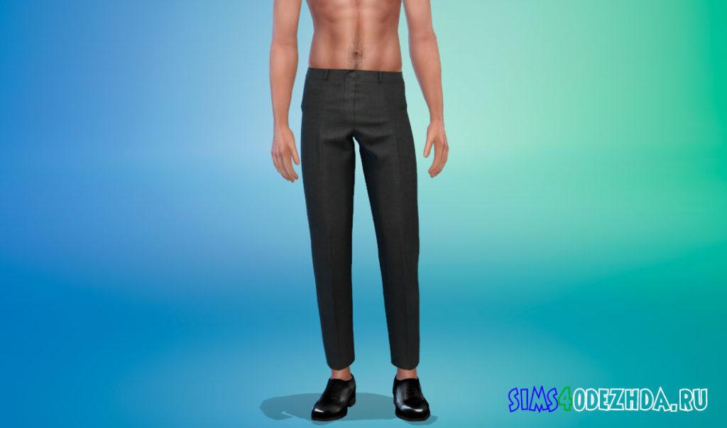 Классические укороченные брюки для мужчин для Симс 4 – фото 2