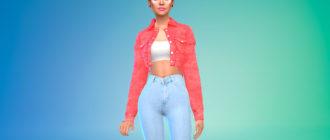 Короткая джинсовка для Симс 4 – фото 1