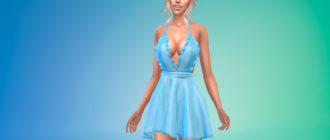 Короткое летнее платье с открытой спиной для Симс 4 – фото 1