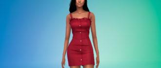 Короткое платье на пуговицах для Симс 4 – фото 1