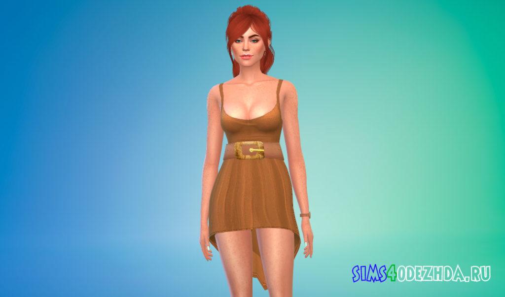 Короткое платье с поясом для Симс 4 – фото 3