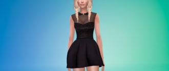 Короткое платье с воротником для Симс 4 – фото 1
