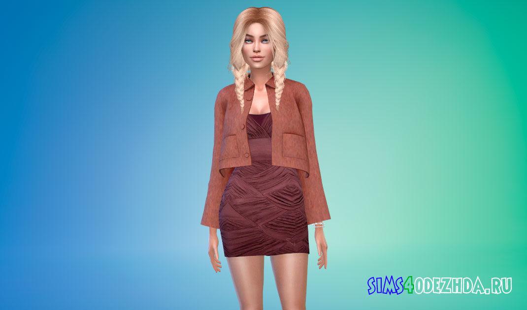 Короткое шерстяное пальто для Симс 4 – фото 1