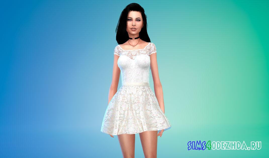 Красивое кружевное мини-платье для Симс 4 – фото 1